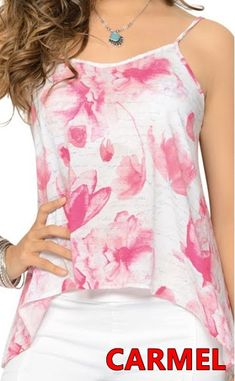 Blusa estampada de tiras con largo asimétrico en delantero Camisole Top, Tank Tops, Outfits, Women, Fashion, Woman, Block Prints, Scrappy Quilts, Mint Green Fashion