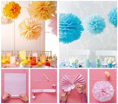 Hanging Pom-Poms How-To  1. Stack eight 20-by-30-inch sheets of tissue. Make 1 1/2-inchwide accordion folds, creasing with each fold. 2. Fold an 18-inch piece of floral wire in half, and slip over center of folded tissue; twist. With scissors, trim ends of tissue into rounded or pointy shapes. 3. Separate layers, pulling away from center one at a time. 4. Tie a length of monofilament to floral wire for hanging.