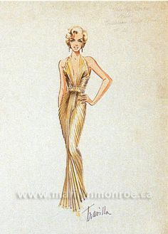 """Rare Costume Sketch By Billy Travilla Of #MarilynMonroe - Costume designer William Travilla, known simply as """"Travilla"""", first met Marilyn in 1950, when she asked if she could borrow his fitting room to try on a costume."""