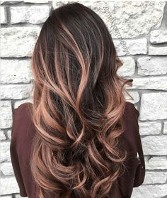 How-To: rose gold brown balayage hairstyle hair, hair color Dark Ombre Hair, Red Blonde Hair, Ombre Hair Color, Hair Color Balayage, Hair Colour, Balayage Highlights, Brunette Hair, Balayage Hairstyle, Color Highlights