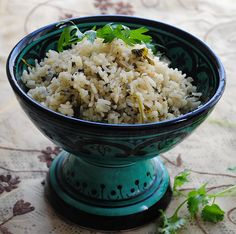 A vendor in the local shuk introduced me to green rice - but I didn't taste it till I found the recipe and cooked it myself.