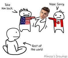 America should just ban JB and send him in a cardboard box back to canada. I would be so happy. >>> LOL I laughed way too hard to all of this. Just the image of JB being pushed bak an forth between America and Canada. All Quotes, Funny Quotes, Sherlock, Supernatural, Actrices Sexy, Disney, You Draw, Have A Laugh, Laughing So Hard