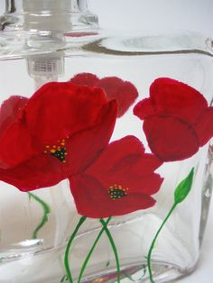 Soap Dispenser Hand painted Red Poppies by GlassWorksEtc on Etsy
