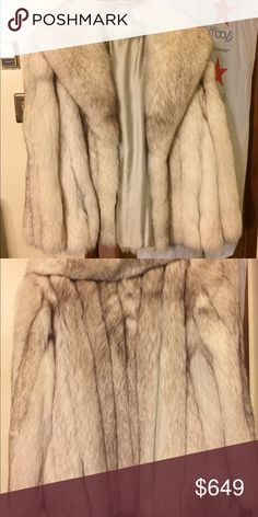 Blue Fox Fur Beautiful Blue Fox Fur Coat! Has pockets, been treated by a furrier within the last year and has had proper cold storage. Love this Coat. Women's. size L will fit anyone 10-14. Jackets & Coats