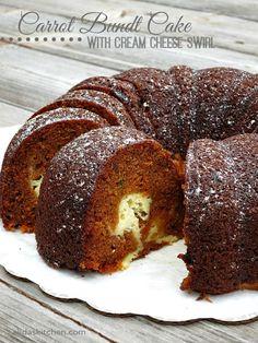 Carrot Bundt Cake with Cream Cheese Swirl | alidaskitchen.com #recipes #SundaySupper