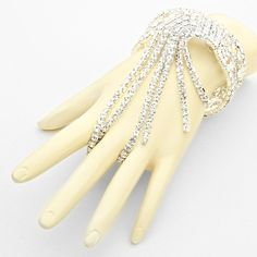 Crystal Rhinestone Fringe Evening Bracelet Silver / Clear  http://gingasgalleria.com/product/crystal-rhinestone-fringe-evening-bracelet-silver-clear/