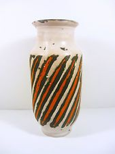 "GORKA LIVIA WHITE RETRO VASE WITH BLACK & ORANGE STRIPES 10"",1950'S ART POTTERY!"