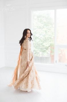 Luxurious rose gold heavy threadwork blouse and lengha set with organza frill stole. Indian Wedding Outfits, Indian Outfits, Indian Clothes, Wedding Guest Outfit Inspiration, Party Wear Dresses, Wedding Dresses, Gold Lehenga, Eid Outfits, Saree Models