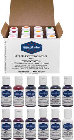 Food Coloring 183345: Americolor Soft Gel Paste Student Color Kit 12 ...
