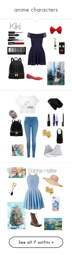 """anime characters"" by crystalgems125 ❤ liked on Polyvore featuring TFNC, NARS Cosmetics, Givenchy, MICHAEL Michael Kors, Charlotte Russe, art, SEN, Burberry, Twist & Tango and Ghibli"