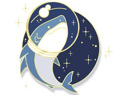 Space Shark Enamel Pin