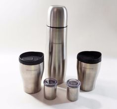 Stainless Steel Thermos Flask Canteen Travel Set 2 Mugs with Carrying Case
