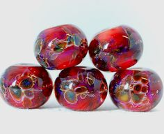 Boro lampwork beads Burgundy
