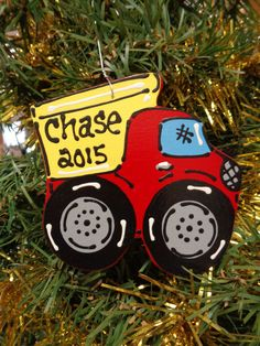 Ornament U CHOOSE NAME & YEAR Personalized DUMP TRUCK Christmas Kids Children   #Unbranded