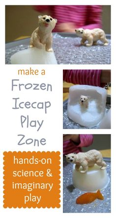Winter sensory play, hands-on science and imaginary play: make a frozen icecap play zone