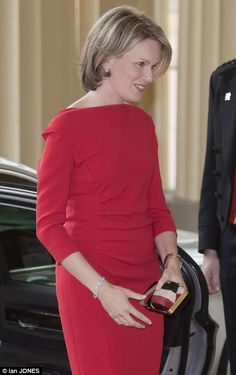 Princess Mathilde of Belgium attends the pre Olympic banquet hosted by Queen Elizabeth