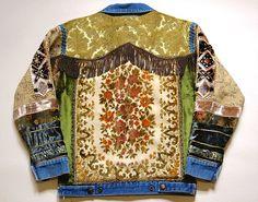 Tapestry Jacket 70s Vintage Renewed Denim Jean jacket Patch Jacket Fringe Velvet Patched Embroidered Dragon HANDMADE Carpet Jacket 1970s S