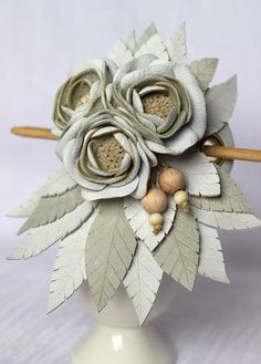 Leather hair stick barrette, hair slide, hair pin with Flowers - colors: White, Light Gray - Small
