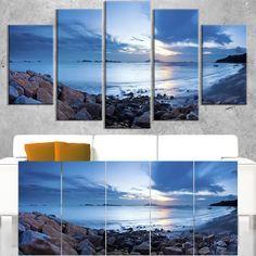 Sea Sunset on Sandy Coastline - Contemporary Seascape Art
