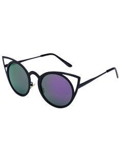 Black Charming Cat Eye Mirrored Sunglasses - Purple