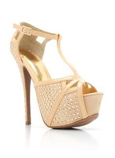 Champagne Embellished Peep-Toe Heels