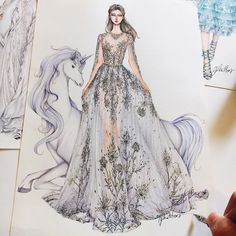 When i was a child, I used to dream about a wonderland with princess, prince, unicorn and fairy with a butterfly wings. Inspired by haute couture fall Fashion Figure Drawing, Fashion Drawing Dresses, Fashion Dresses, Drawing Fashion, Dress Design Sketches, Fashion Design Drawings, Fashion Sketches, Dress Illustration, Fashion Illustration Dresses