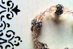 Antiqued silver and peach Swarovski crystal bracelet by Acacia Bella on Etsy, $28.00