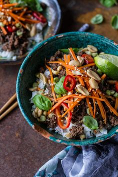 20 Minute Thai Basil Beef and Lemongrass Rice Bowls | halfbakedharvest.com