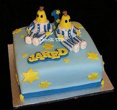 23cm square chocolate sponge with ganache - hand modelled 'banana' for Jared's Bananas in Pajamas themed birthday cake