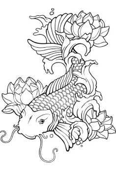 Asian koi Tattoo Royalty Free Stock Vector Art Illustration