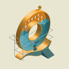 Jing Zhang's Architectural, Isometric Vector Lettering