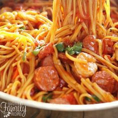 Yum    Can you tell I have been loving these one-pot dinners? They are the best! I came up with this one pot Jambalaya pasta when I was craving Jambalaya...