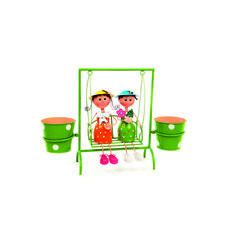 Bench Girls Pot Plant Display. The cute design of this fun colourful metal planter will decorate your outdoor space in an instant, fitting perfectly into any garden, porch, balcony or patio surroundings. Just fill the two plant pots with your favourite flowers and it will come alive with colour.