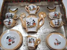 Mickey Mouse lustreware children's toy teaset (teapot, creamer, sugar, cups & saucers) in box, white with light orange lustre, 1930s, ceramic, USA