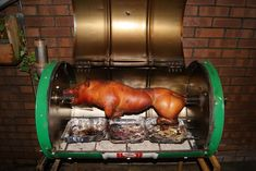 My home made pig roasting spit. Made from an old castrol oil drum a few old car parts. Good fun to make and great results! Outdoor Oven, Outdoor Cooking, Oil Drum Bbq, Ugly Drum Smoker, Barrel Bbq, Diy Pizza Oven, Four A Pizza, Bbq Grill, Barbecue Smoker