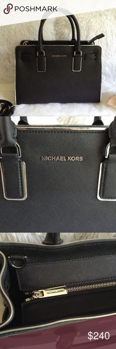 Michael Kors Black/Silver Leather Satchel 💯Authentic Michael Kors Medium Satchel in New condition! Adjustable/ detachable long strap for shoulder or cross body use. Bottom feet. Comes with dust bag. Michael Kors Bags Satchels