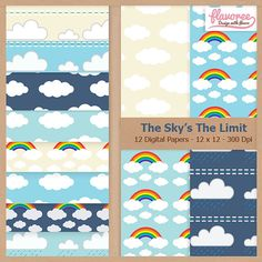 The Sky is The Limit  - Digital Scrapbooking Paper Pack by Flavoree, $5.00