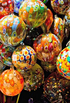 Italian Christmas baubles, Murano, Venice, Italy--take plastic ornaments and drizzle/swirl paints inside