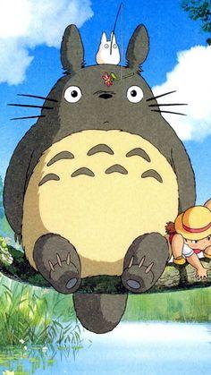 Totoro, the forest spirit and Mei, a 4 year old girl. An enchanting Studio Ghibli film. Art Studio Ghibli, Studio Ghibli Films, Studio Ghibli Characters, Animes Wallpapers, Cute Wallpapers, Anime Kunst, Anime Art, Japon Illustration, Hayao Miyazaki