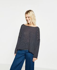 OVERSIZED SWEATER from Zara - COLOR: Navy Blue Boatneck sweater. Side vents. Asymmetric hem. OUTER SHELL  65% polyester, 35% cotton