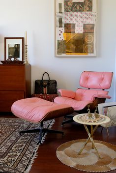 MLF Eames Lounge Chair & Ottoman (Inspired by Charles and Ray) Pink Living Room Furniture, Living Room Lounge, Living Spaces, Lounge Chair, Chair And Ottoman, Rocking Chairs, Home Office, Mid Century Modern Furniture, Lounges