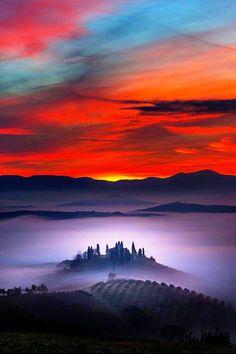 Sunrise & Fog Val D'Orcia Tuscany ITALY - Dick Stannard - Google+