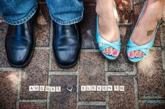engagement photography with ring and scrabble tiles