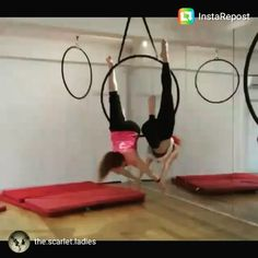 Ideas for the end of give us a little Love Love this simple mirroring combo. Damn, doubles is fun! ^_^  @the.scarlet.ladies #aerial #aerialhoop #aerialhooplove #aeriallyra #lyra #lyradoubles #aerialdoubles #hoopdoubles #cirque #circusstyle #circus #circuseverydamnday #mondayfunday #mirror