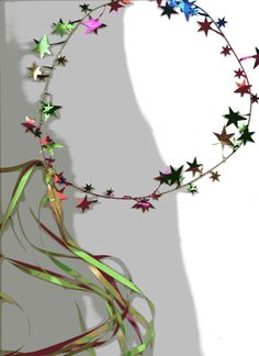 make fairy halos (garland from party store and grosgrain ribbon)