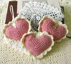 Heart Crochet Ornaments Victorian Style by CottageImaginations