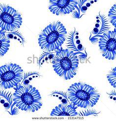 Seamless floral pattern, hand drawn, vector, illustration in Ukrainian folk style - stock vector
