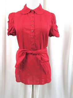 Juicy Couture Red Polka Dot Wrap Shirt Cotton Short Sleeves Size 8 Excellent #JuicyCouture #Blouse #Career