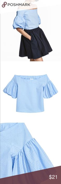 H&M Off Shoulder top in light blue NWT Same blouse as the flowers one: New with tags on, wide-cut, off-the-shoulder blouse in woven fabric. Elastication at back and short, double-layer balloon sleeves with narrow, concealed elastic at cuffs. 100% cotton. Size 8/38. I'm a 6 and this fits still fine. #h&m #offshoulder #puff #top #blouse #hm H&M Tops Blouses