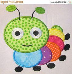 Cute Crawling Bug 04 Machine Applique Embroidery Design - & via Etsy Applique Templates, Applique Embroidery Designs, Machine Embroidery Applique, Applique Patterns, Applique Quilts, Machine Quilting, Quilt Patterns, Owl Templates, Machine Applique Designs